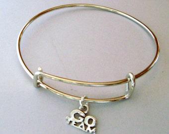 Go Team Charm  Adjustable Bangle Bracelet / Charm Bracelet / Stack able / Under Twenty /  Gift For Her- Usa SP1