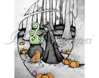 Halloween-Illustration-Samhain-Witch-Potion-Wall decor-Printable-Instant download-Art