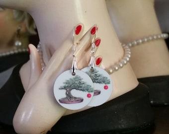 Bonsai Earrings, Bonzai Earrings, Tree of Life, Bonsai Christmas Tree, Bonsai Ornament