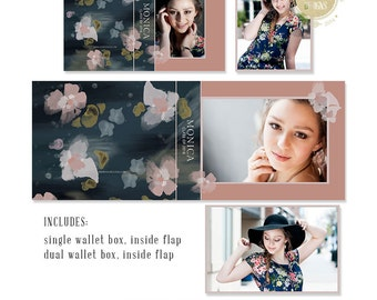 SALE | Painted Water Lilies Senior Photography Wallet Box Template for Photographers | Miller's Lab  - CIB1015