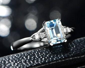 5.2×7.2mm Emerald Cut Aquamarine Ring, Prong Setting Ring,14K White Gold filled Ring, Aquamarine Diamond Ring,Simple Engagement Wedding Ring