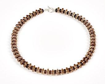 "Chocolate Sorbet - 18"" necklace of two-tone smokey quartz"