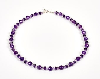 """Cassis - 18"""" necklace of amethyst and sterling silver"""