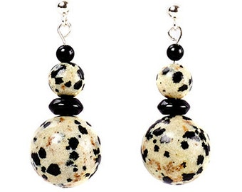Dotty - earrings of dalmation jasper, black onyx and sterling silver