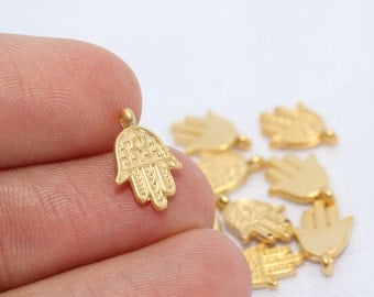 20 Pcs Gold Plated Hamsa Orientalist Charms, Hamsa Bracelet and Necklace Findings, 13 mm Tiny Hamsa Charms GNC 001