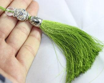 5 Pcs Green Silky Thread Tassel, Beaded Tassel Necklace, 130 mm Tassel Pendants with Swarovski Stones