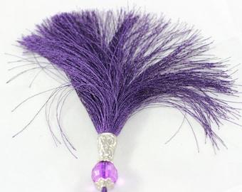 1 Pc Dark Purple Silky Thread Tassel, Beaded Tassel Necklace, 120 mm Tassel Pendants with Beads and Silver Tone Caps