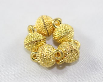 4 Sets Gold Tone Magnetic Clasps, 9x14 mm Mini Ball Clasps, Round Strong Magnets, Dotted Clasps