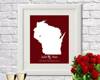 Wedding Anniversary Gift Custom Gift For Couples Newlywed Gift New Home Decor Engagement Gift WISCONSIN Wedding Gift - Any STATE