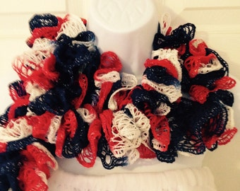 Red White & Blue Ruffle Scarf