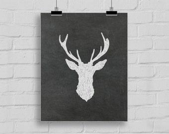 8x10 Chalkboard deer head, Trophy Stag, Deer silhouette, Stag Silhouette