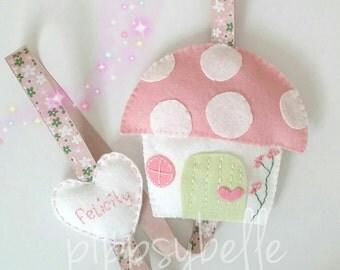 personalised hair clip holder. fairy house hair clip organize. birthday gift for girl. uk