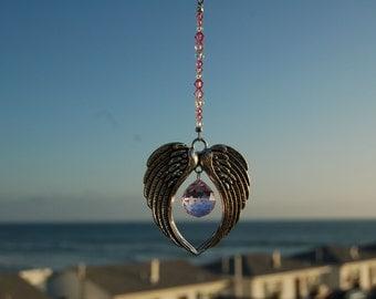 Crystal Suncatcher, ANGEL WINGS, Swarovski, Car Charm, 20mm Rosaline Swarovski Crystal Ornament, Car Rearview Mirror Charm