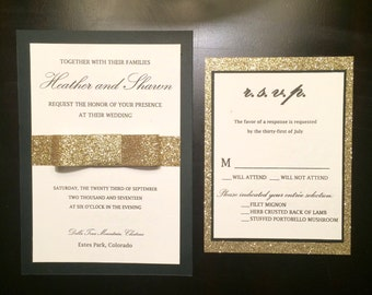 Black Gold and Ivory Glitter Bow Wedding Invitation