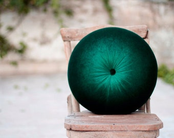 Emerald Green & Deep green velvet round pillow16""