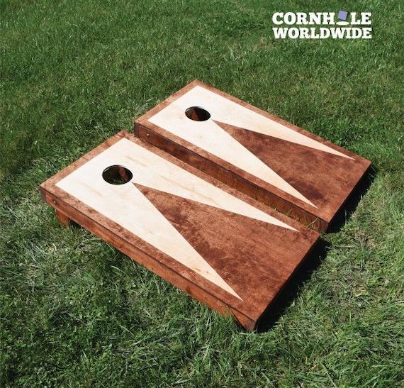 Stained triangle cornhole game by cornholeworldwide on etsy