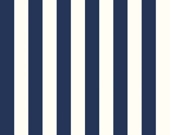Fabric, Navy and White Stripe fabric by Riley Blake