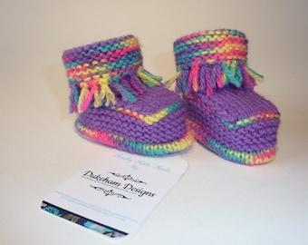 Funky Baby Booties, Baby Girl Booties, Hand knitted baby booties, knitted baby booties