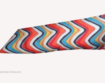 Retro Multi Colour Wavy Chevron Scatter Cushion