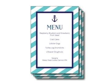 Printable Light Blue Striped Nautical Invitation, Sign, Menu (Printable Nautical Menu, Light Blue Nautical, Nautical Party Sign, Sailing)