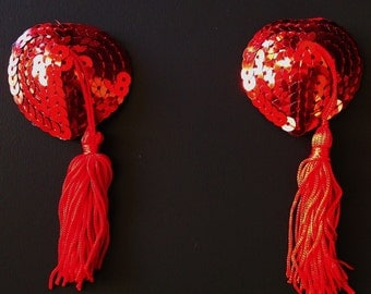 Red Sequins Heart Tassels