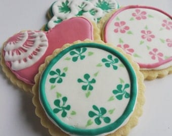 Decorated Iced Sugar Cookies flowers hearts variety favors gift