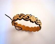 Free Shipping Bracelet Carved Openwork Wood Birch Bark Handmade Russian Ornament Wooden bangle