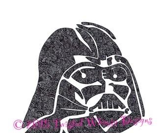 Zentangle Darth Vader print