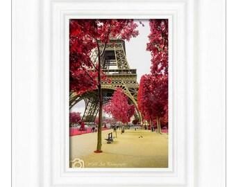 Champs du Mars, Eiffel tower, Red tree, Photo paper, Photo print, Wall decor, Home decor, Room decor, Paris decor, Paris photo, Paris gift