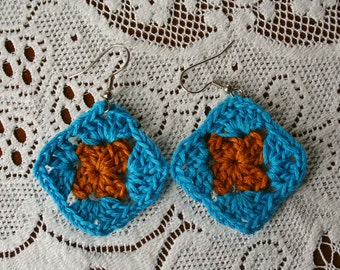 Blue and Orange Granny Square Crochet Earrings
