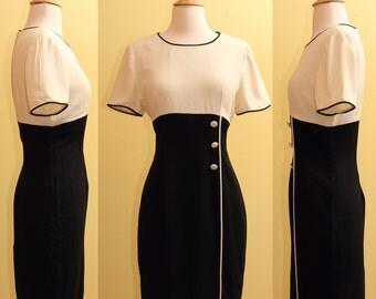 Vintage Donna Ricco NY Black and White Dress 1980s, Small
