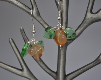 Sterling Silver and Natural Gemstone Dangle Earrings