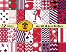 Paper digital paper pack digital scrapbooking paper baseball paper