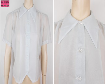 Vintage 1940s 1960s Sheer Button Front Blouse Pointed Collar Pale Blue Short Sleeves 12