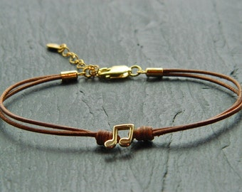 Leather and sterling silver/gold filled bracelet.Musical note beaded. note bracelet.Musical charm.Musical bracelet. Leather bracelet.L020(D)