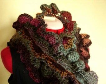 Only the pattern! by no means everyday curl scarf, crochet. Pattern only, Dutch