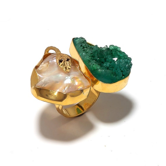 emerald green druzy ring pearl ring gold ring cocktail