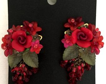 SCARLET PEONY EARRINGS, handbeaded floral earrings by Colleen Toland