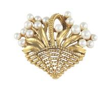 Vintage TRIFARI flower basket pearl brooch