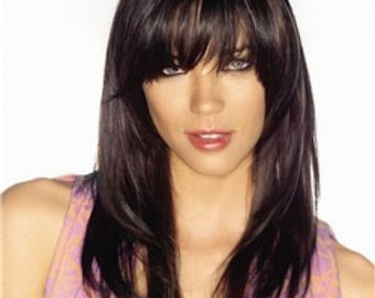 Clip on Fringe Bangs in Medium - 100% human hair free colour match service. Undetectable and real looking - face framing layers.
