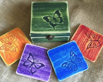 Butterfly Coater Set with Box - Hand Carved and Painted Wood Box and Four Coasters - Wood Carved Butterflies - Colorful