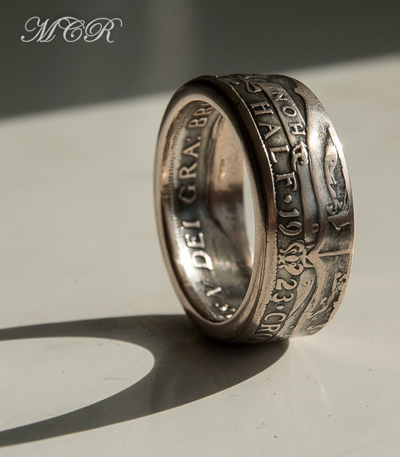 Silver Old British Half Crown Coin Ring