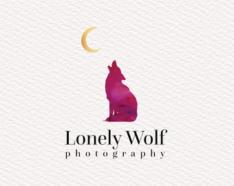 Instant Download Wolf Logo in Watercolors, Purple, Pink, Fuchsia, Gold