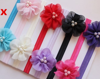 Wholesale 8x Newborn Baby Headband Girl Flower Hair Band Stretchy Elastic Photo Prop Free Postage