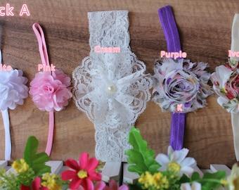 5x Baby Girl Headband Mini Large Flower Hair Band Elastic Photo Prop Free Postage