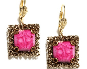 Blisscovered Pink & Gold Square Earrings