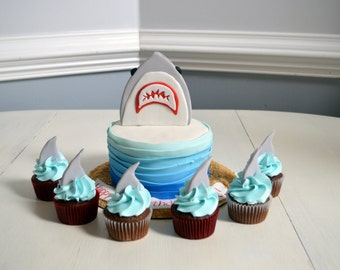 Shark Party Cake and Cupcakes Topper (1 dozen cupcakes and 1 cake topper)