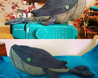 Denim Whale Soft Toy