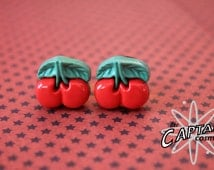 Cherry  plugs for gauged ears 8mm 0G rockabilly gauges bodmod red