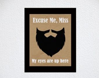 Funny Beard printed art print, hipster art, art poster